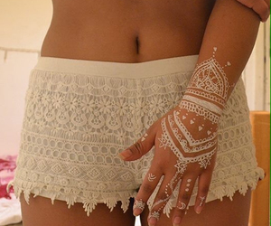 henna, white, and lace shorts image