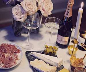 wine, champagne, and cheese image