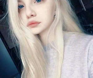 girl, blonde, and blue eyes image
