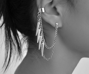 b&w, black and white, and earing image
