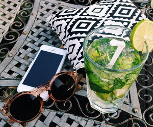 drink, iphone, and sunglasses image