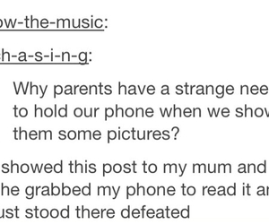 parents, phone, and tumblr post image