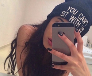girl, iphone, and black image