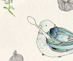 artwork, fox, and bird image