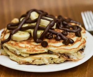 banana pancakes, food, and luxury image