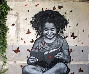book, butterflies, and girl image