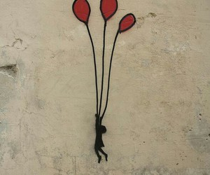 away, balloons, and red image