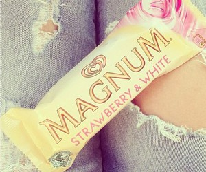 Magnum, ice cream, and strawberry image