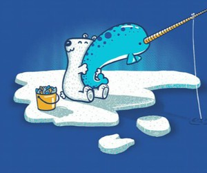 narwhal, Polar Bear, and cute image