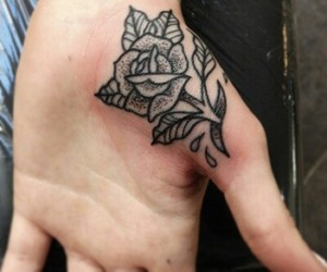 hand, rose, and palm image