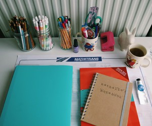 notebook, desk, and motivation image