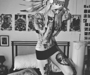 tattoo, girl, and indian image