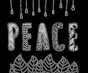 black and white, peace, and overlays image