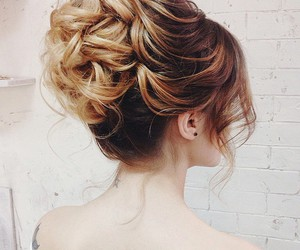 attractive, bun, and curly image