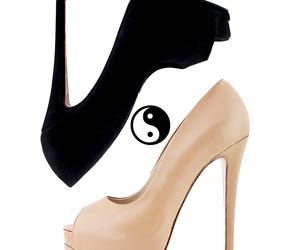 beige, black, and heels image