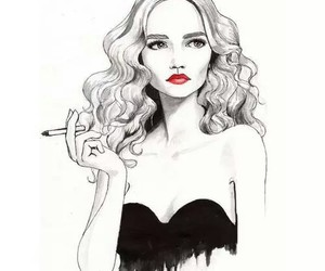 girl, black and white, and drawing image