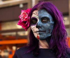 purple hair, sugar skull, and zombie image