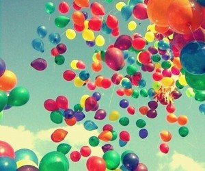 balloons, sky, and colors image