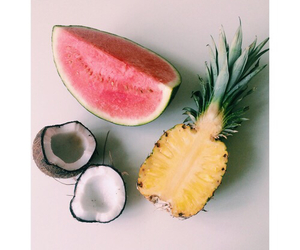 fruit, coconut, and watermelon image