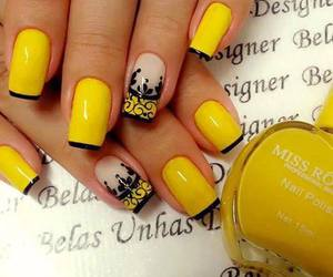 nails, yellow, and nails art image