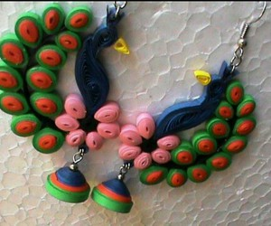 earrings, quilling, and peafowl image