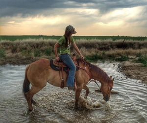 country, girl, and horse image