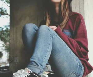 girl, jeans, and red image