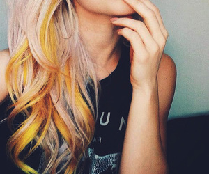 hair, yellow, and hairstyle image
