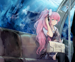 anime girl, bus, and pink hair image