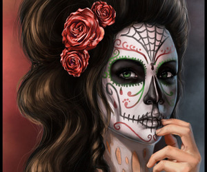 art, day of the dead, and makeup image