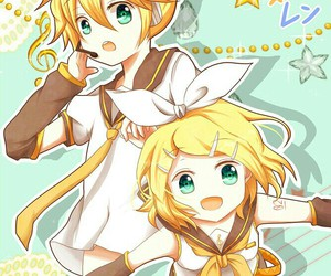 blond, rin, and len image