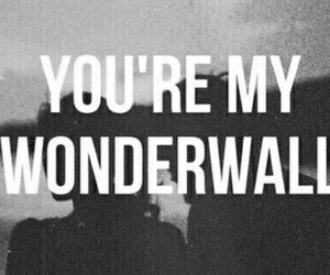 wonderwall, black and white, and oasis image