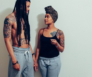 black man, black woman, and dreads image