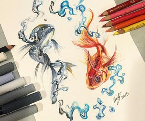 drawing, art, and fish image