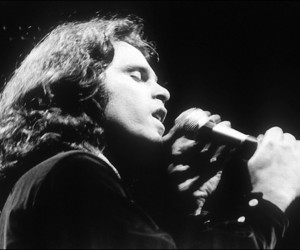 Jim Morrison, black and white, and the doors image