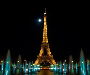 paris, night, and eiffel image