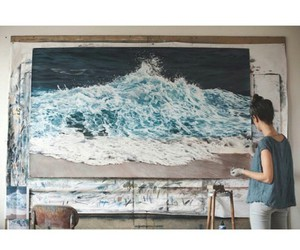 art, ocean, and blue image