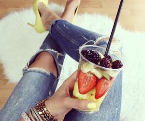 girl, fashion, and fruit image