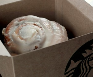 starbucks, cinnamon bun, and cinnamon roll image
