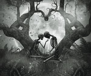 love, skeleton, and dark image