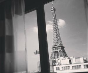 black and white, paris, and eiffel tower image