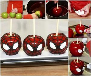 spiderman, apple, and food image