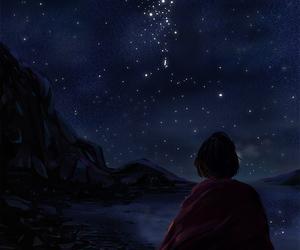 anime girl, anime night sky, and anime lamp image