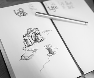 camera, drawing, and book image