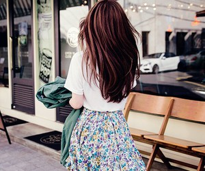 flowers, hair, and skirt image