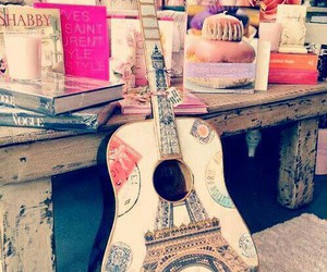 art, eiffel tower, and guitar image