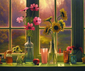 flowers, window, and pretty image