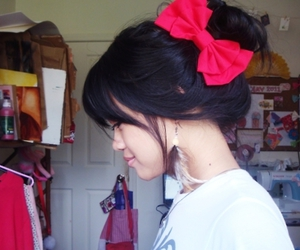 black hair, bow, and girl image