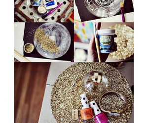nail polish, gold bracelets, and diy plates image