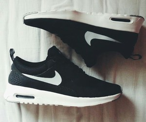 nike, shoes, and black and white image